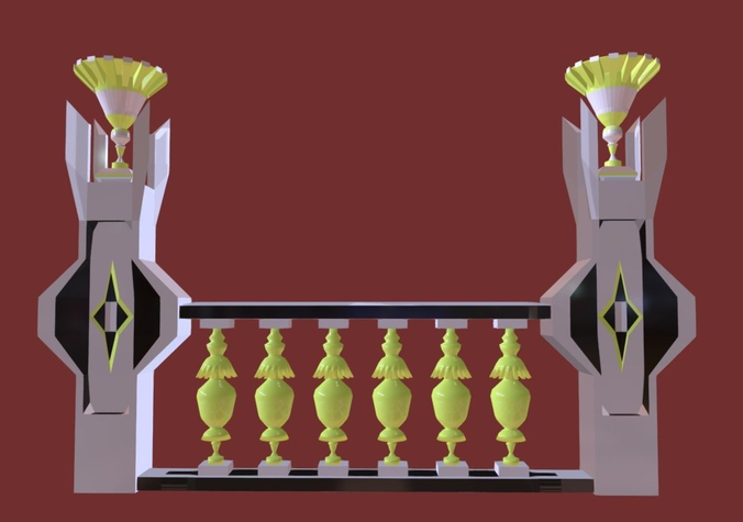 architectural balustrade - palace decor baroque - 4 3d model low-poly fbx 1