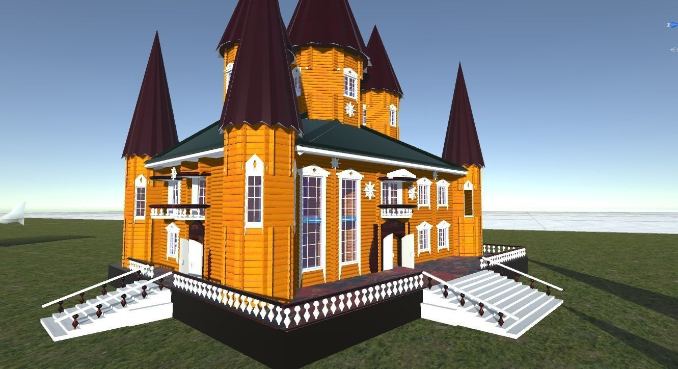 Russian wooden house in Siberian village -1 Terem   for 3D games