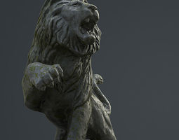 3D asset low-poly Lion Statue