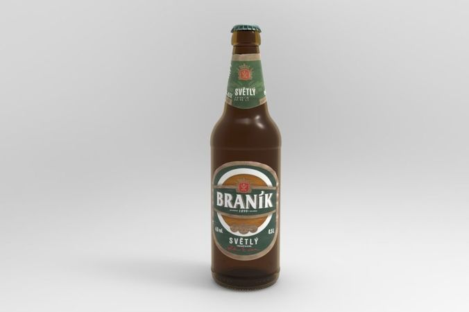 branik beer bottle 3d model obj mtl fbx stl stp 1