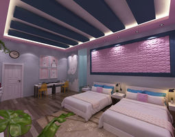 3D Girls bed room
