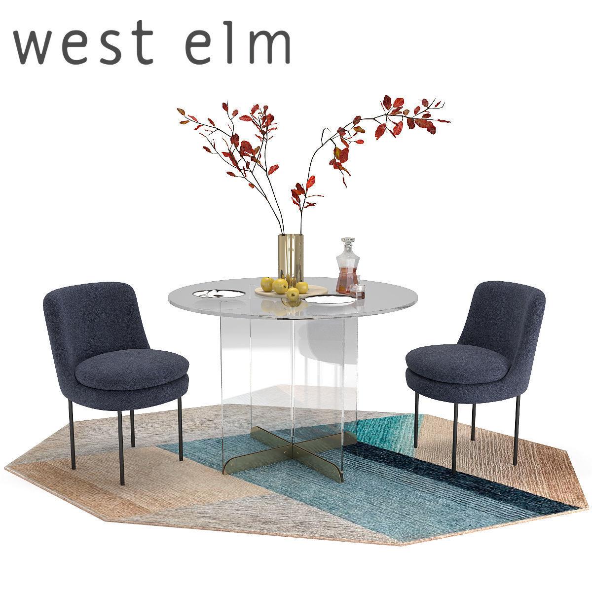 Astounding West Elm Calliope Table Modern Curved Chair 3D Model Inzonedesignstudio Interior Chair Design Inzonedesignstudiocom