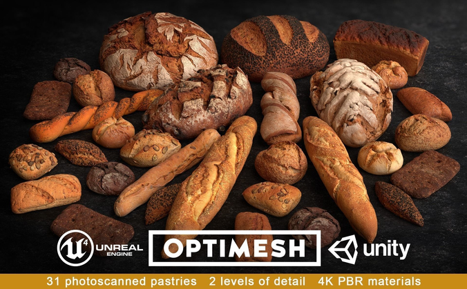 baked pastries bread buns rolls 3d pbr pack 3d model low-poly max obj mtl fbx blend tga 1