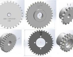 solidworks 3D model sprocket - Chain teeth
