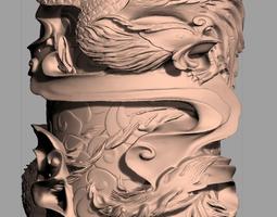Animal Sculpture Model Birdb pillar A068 3D