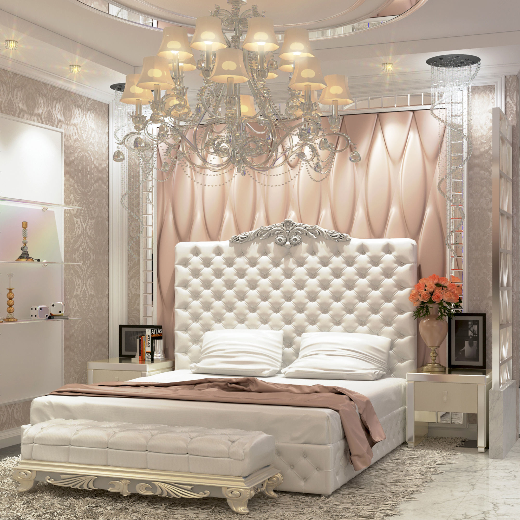 Modern Luxury bedroom and dressing room 3D model
