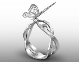 butterfly ring 3d model max obj fbx stl