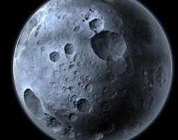 Highly Detailed Planet or Moon with Big Craters 3D Model