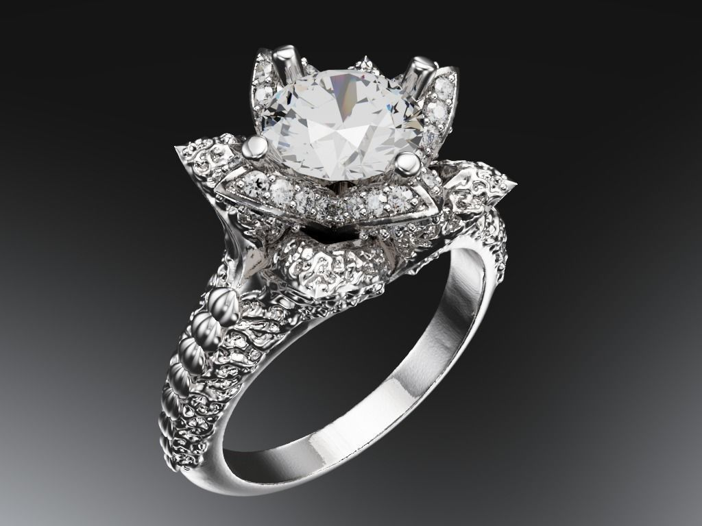 engagement ring 3d model stl 1 - Lotus Wedding Ring