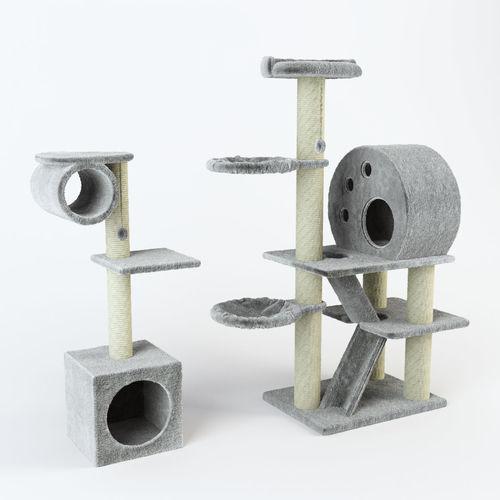 cat tree set decor 3d model max obj mtl 1