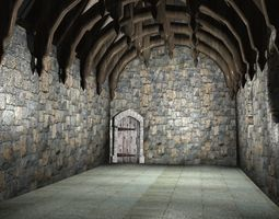 3D asset Medieval Hall One interior