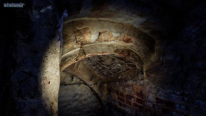 photoscanned dungeon basement 3d model low-poly obj mtl fbx 1