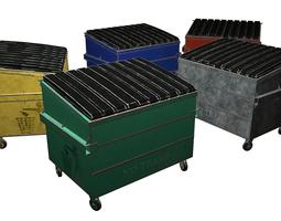 Street furniture - dumpster 001 old 3D asset low-poly