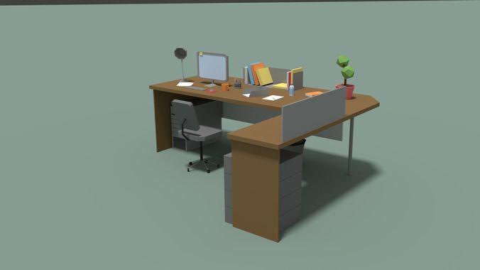 Low Poly Cartoony Office Desk