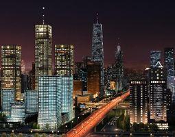 big city night scene 3d
