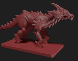 High poly fantasy dinosaur 3d model