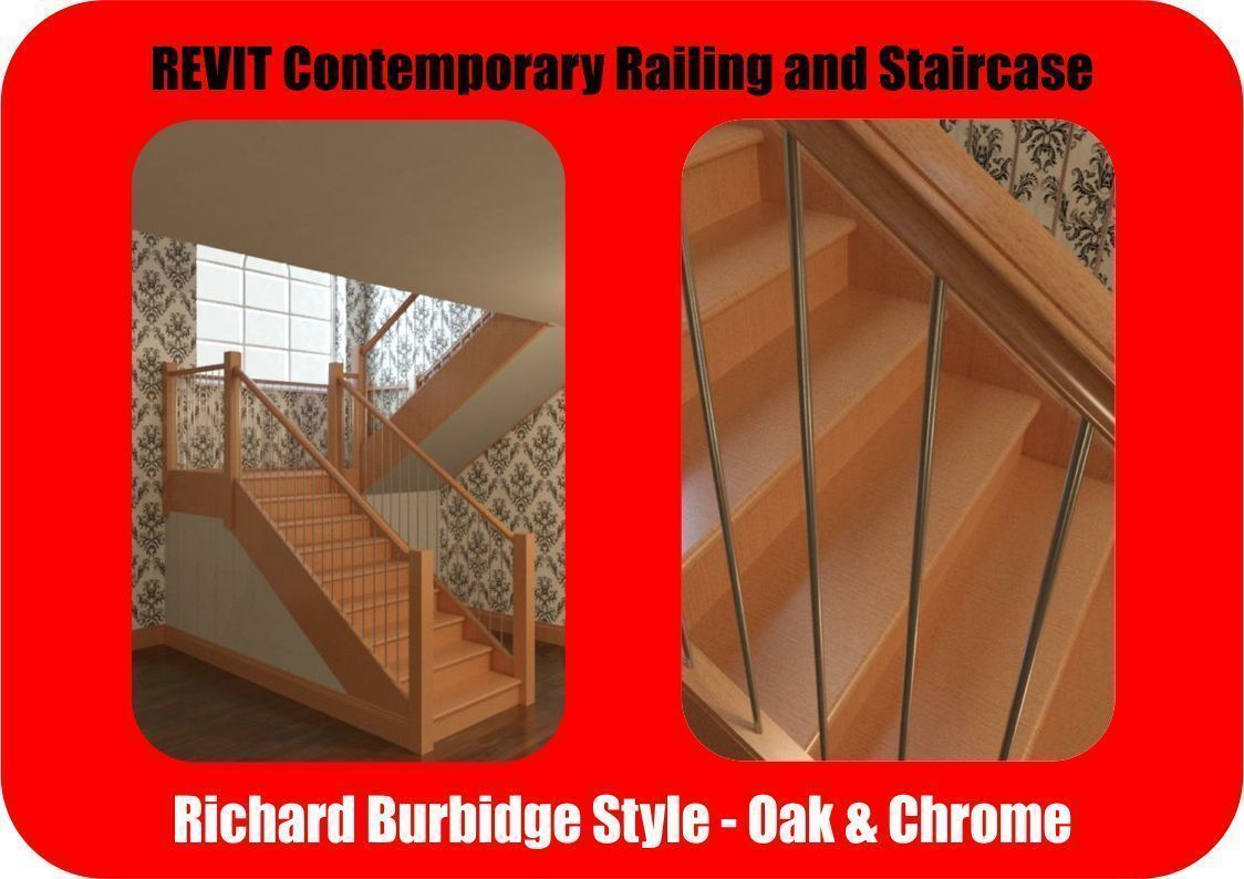 Contemporary Oak and Chrome Staircase Revit and Max | 3D model