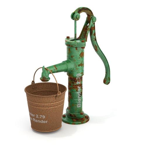 vintage water hand pump with bucket 3d model obj mtl fbx blend 1