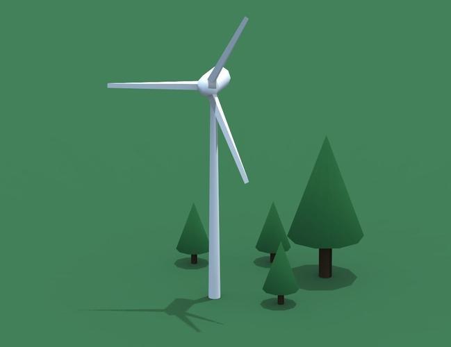 a windmill 3d model low-poly obj mtl ma mb 1