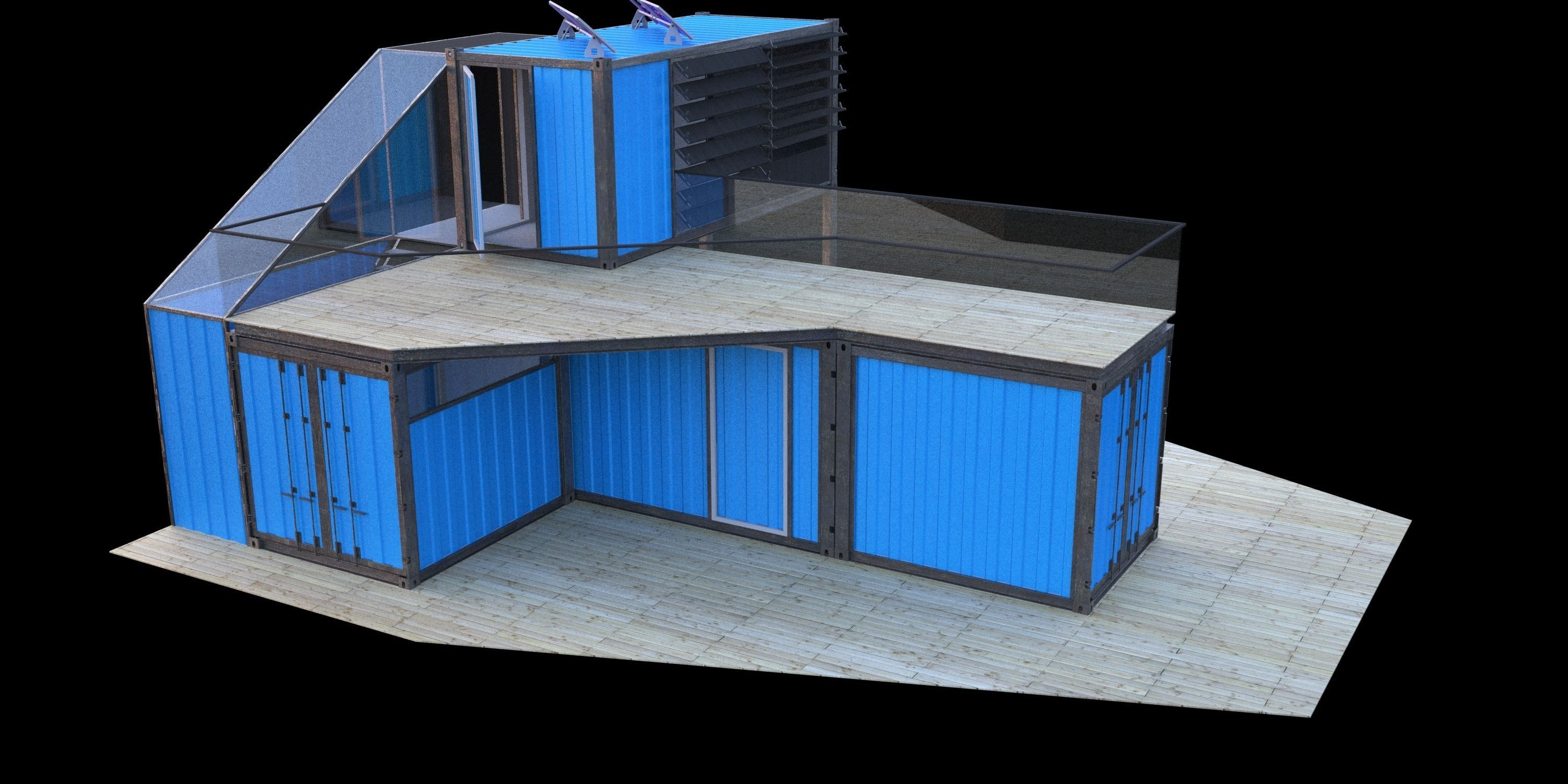 Small Container Home Free 3d Model