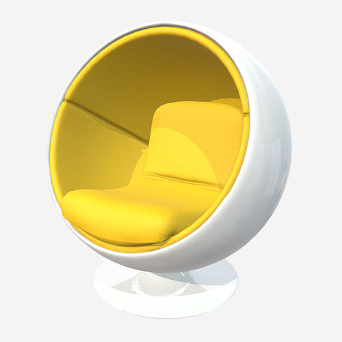low poly pbr ball chair 3d model fbx ma mb 1