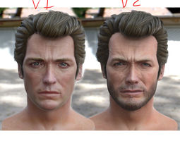 game-ready 3d model Clint Eastwood head