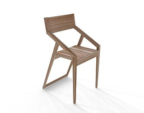 Simple Minimalist Wood Chair 3D model