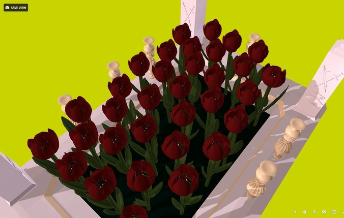 flowers - red tulips in the flowerbed 3d model low-poly fbx 1