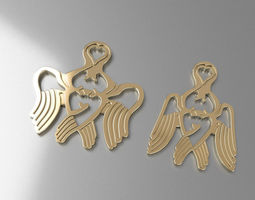 Pendant angel heart 3D Model
