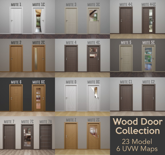 wood door collection - modern interior wood door - real wood uvw 3d model obj 3ds fbx c4d stl mtl 1
