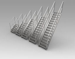 Stairs 3D model metallic