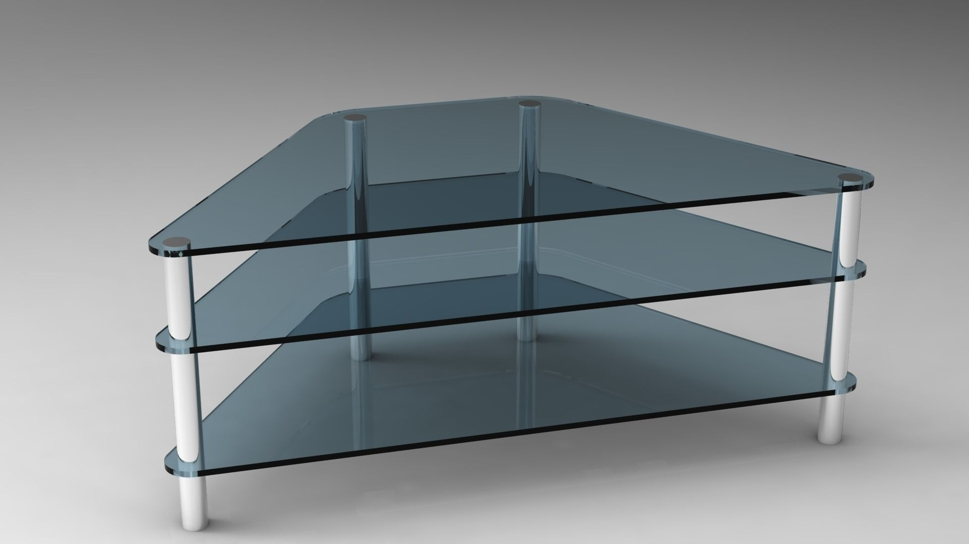 glass tv stand 3d model skp 1