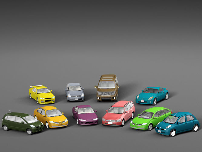 vehicle packs cars nissan 3d model low-poly max obj mtl fbx c4d mat 1