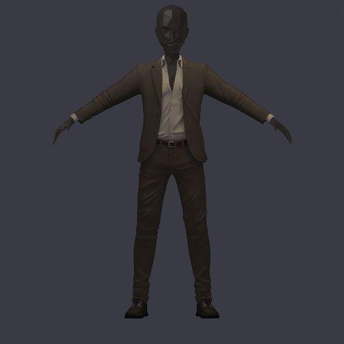 subdivision 3d model avatar cost shirt pants brown beige 3d model max obj mtl ma mb 1