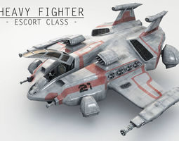 Heavy Space Fighter 3D asset