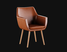 3D asset low-poly Leather chair