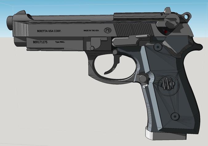 m9 beretta 92f 3d model stl 1