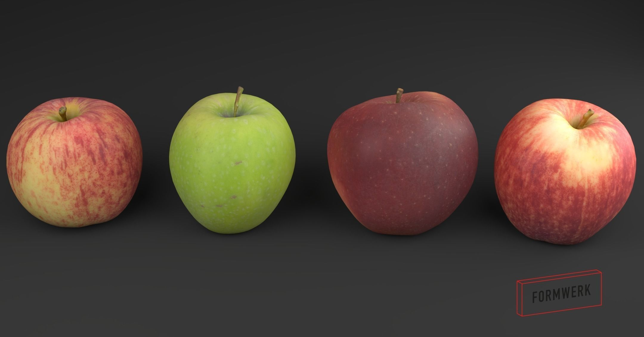3D Scanned apple collection 01