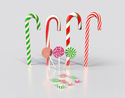 Christmas Candy Canes and Lollipops etc 3D model