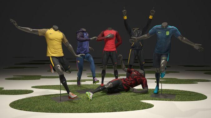 male mannequin nike football pack  3d model max obj fbx 1
