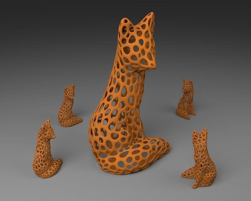 3d Printed Car Parts >> Fox - Voronoi Style free 3D Model 3D printable .stl