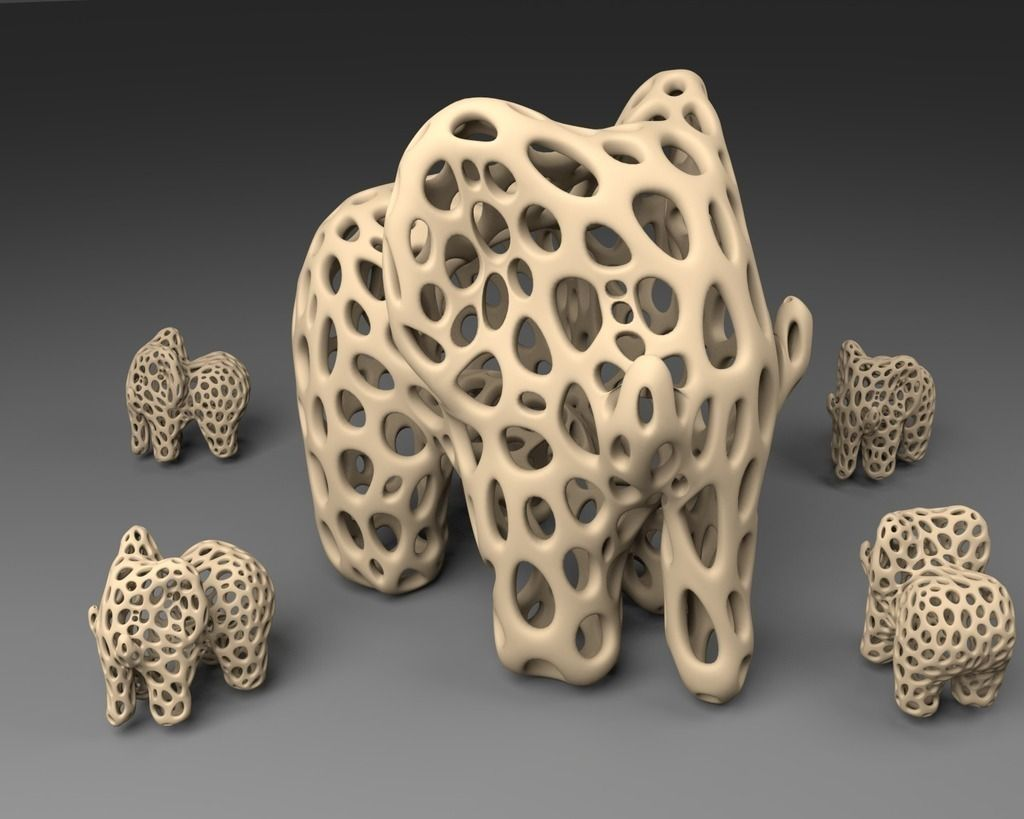 Elephant - Voronoi Style free 3D Model 3D printable .stl ...