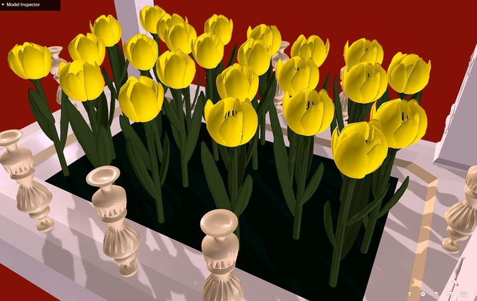 yellow tulips in a flowerbed - i love you  3d model fbx 1