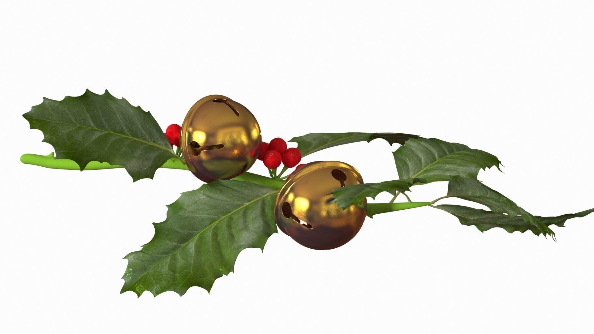 christmas jingle bell branch 3d model   cgtrader