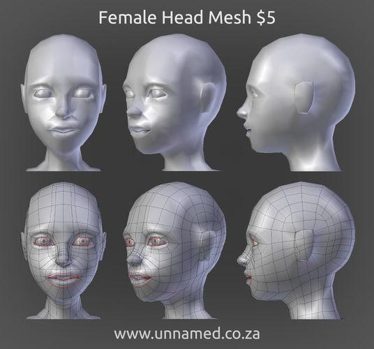female head model 3d model obj 3ds fbx blend dae 1