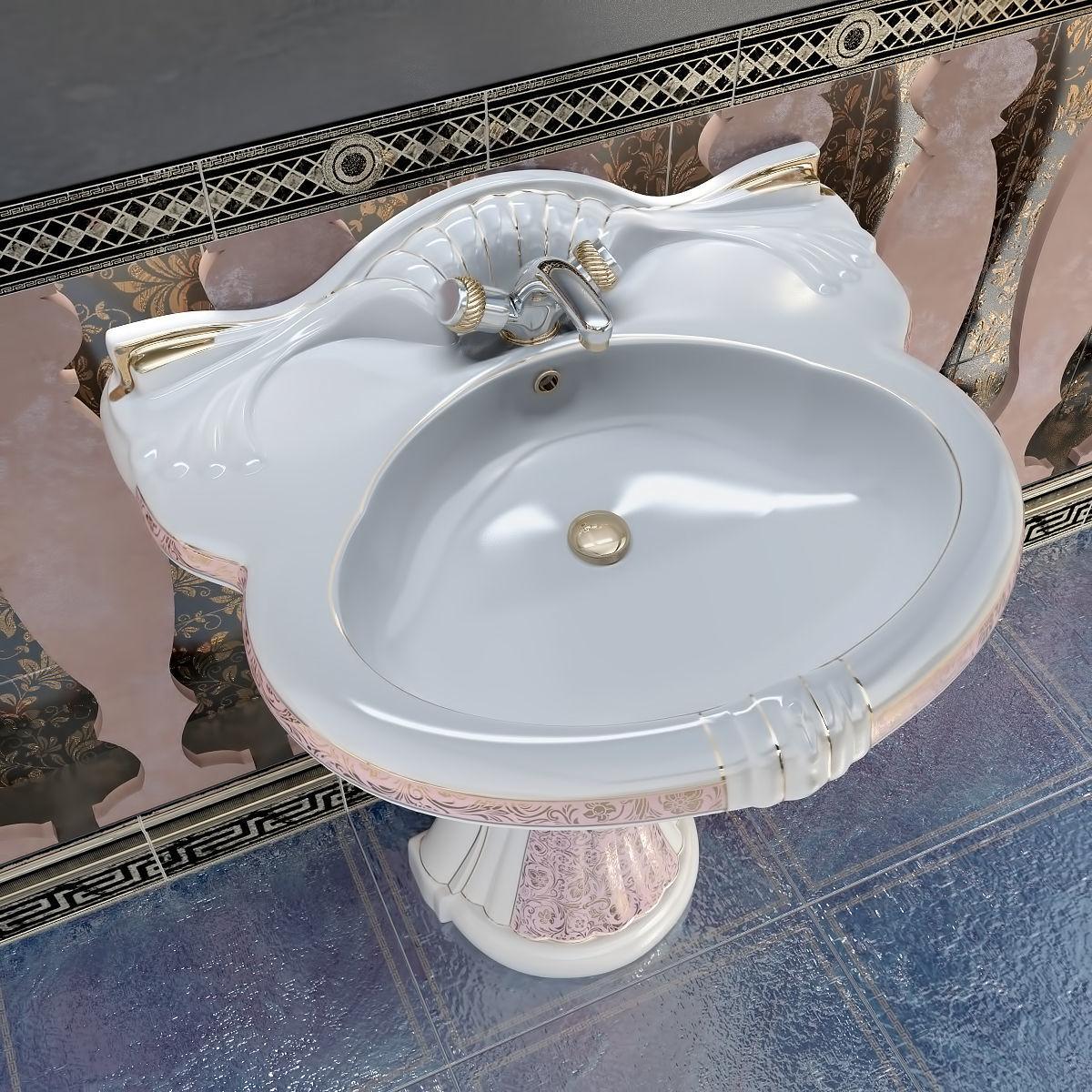 Toilet Washbasin Ceramica Ala New Lord set 3D model