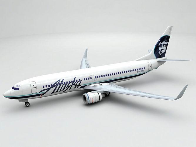 boeing 737-800 ng airliner - alaska airlines 3d model low-poly max obj 3ds dxf stl wrl wrz 1