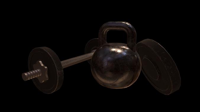 gym props pack 3d model low-poly fbx tga 1