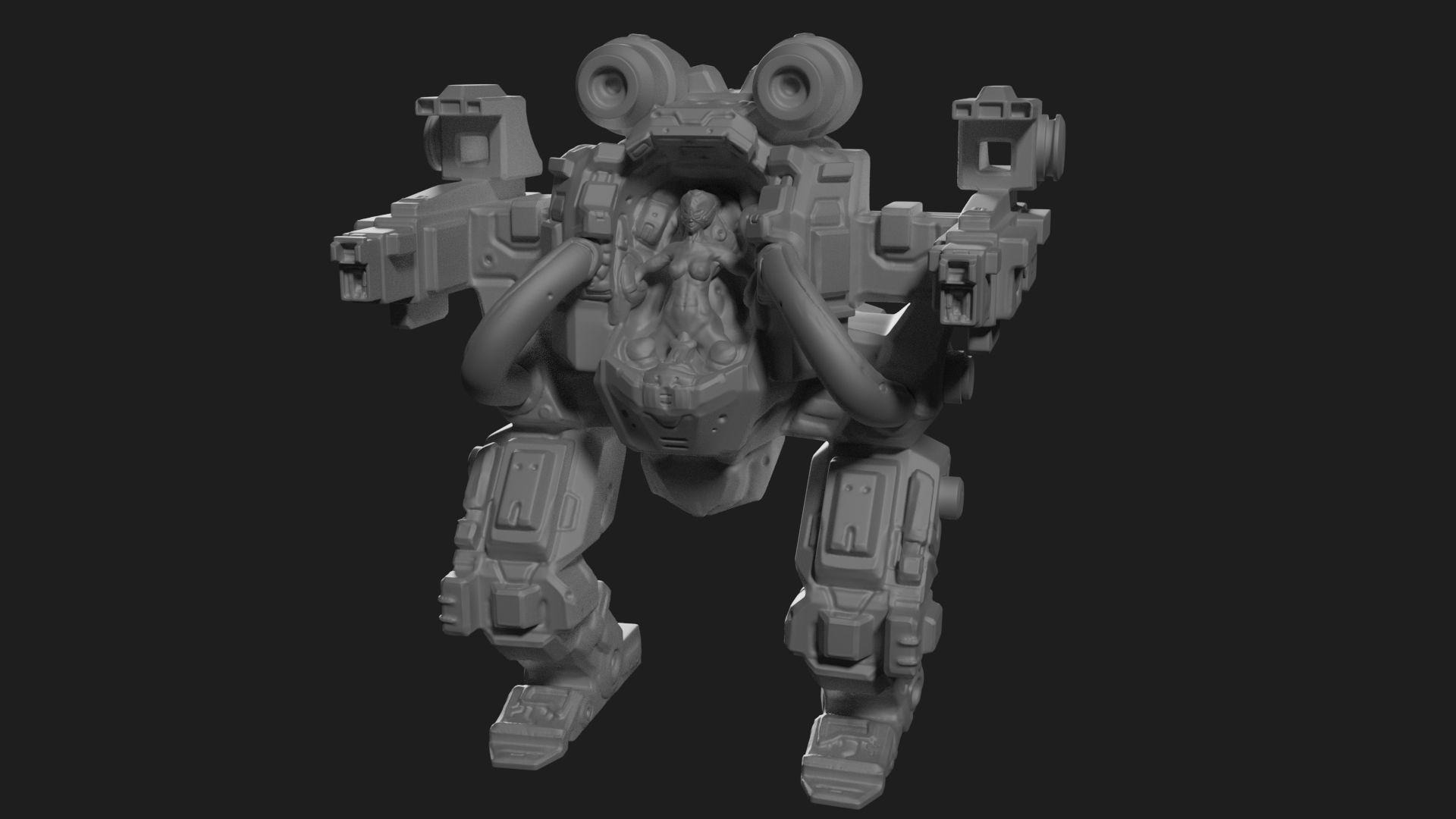 High poly model of mech with girl pilot