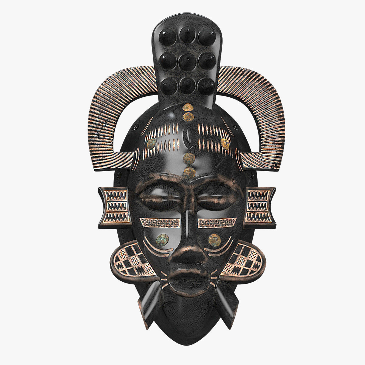 3d model low poly african masks senufo porcupine